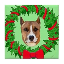 pitbull christmas Tile Coaster