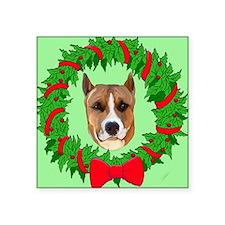 "pitbull christmas Square Sticker 3"" x 3"""