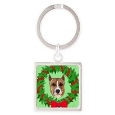 pitbull christmas Square Keychain