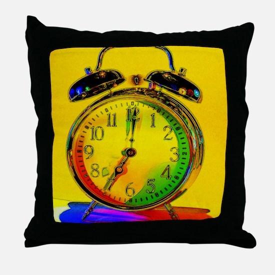 technicolor_clock Throw Pillow