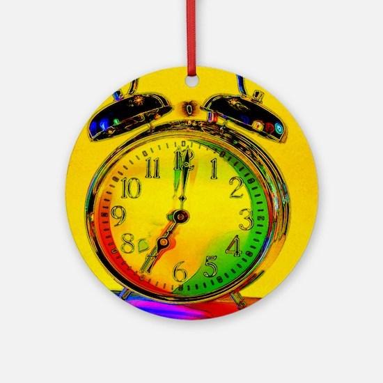 technicolor_clock Round Ornament