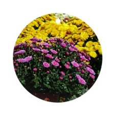 COLORFUL MUMS Round Ornament