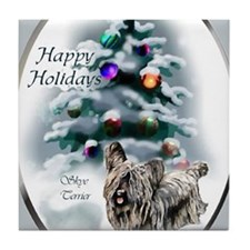 skyeterrierchristma card Tile Coaster