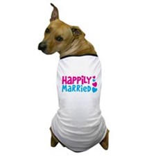 Happily Married with cute love hearts Dog T-Shirt