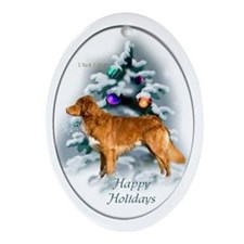 NS Duck Toller Christmas 7 Oval Ornament