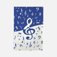Mariner Blue and White Musical notes swirl pattern