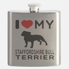 I love My Staffordshire Bull Terrier Flask
