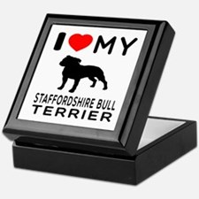 I love My Staffordshire Bull Terrier Keepsake Box