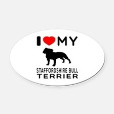 I love My Staffordshire Bull Terrier Oval Car Magn