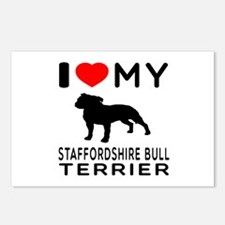 I love My Staffordshire Bull Terrier Postcards (Pa