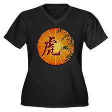 ZY Tiger Clo Women's Plus Size Dark V-Neck T-Shirt