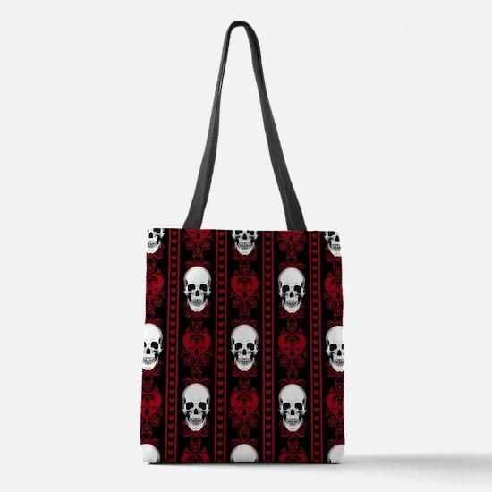 Baroque Skull Stripe Pattern Red Polyester Tote Ba