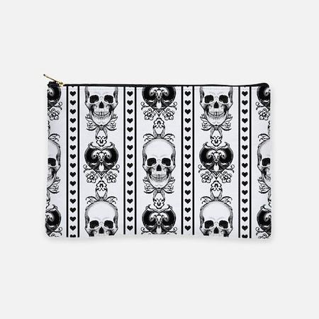 Baroque Skull Stripe Pattern Black/White Makeup Po