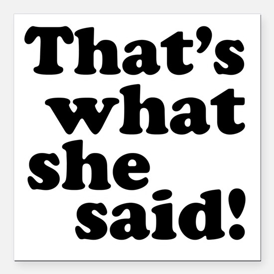 """Thats what she said Square Car Magnet 3"""" x 3"""""""