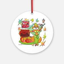 BellyKitty_Green_tank Round Ornament