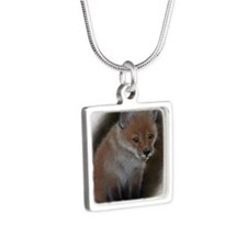 Fox cub 1 Silver Square Necklace