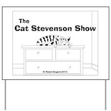 tshirt design cat stevenson cartoon bw Yard Sign