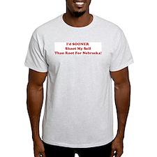 Never Root for Nebraska! Ash Grey T-Shirt