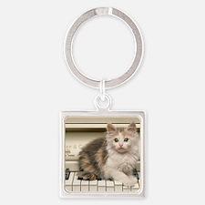 piano kitten panel print Square Keychain