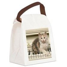 piano kitten panel print Canvas Lunch Bag