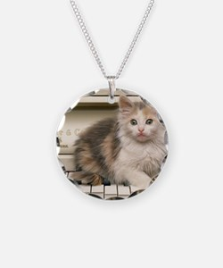 piano kitten panel print Necklace