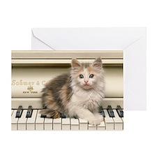 piano kitten panel print Greeting Card