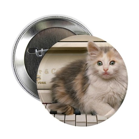 "piano kitten panel print 2.25"" Button"