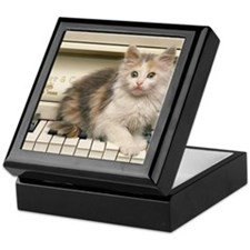 piano kitten panel print Keepsake Box