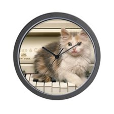 piano kitten panel print Wall Clock