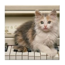 piano kitten panel print Tile Coaster