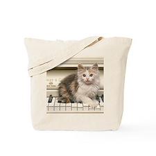 piano kitten panel print Tote Bag