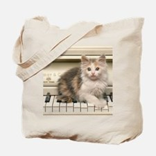 piano kitten panel print Tote Bag