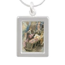 Fairies and Sleeping Bea Silver Portrait Necklace