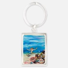 Young Mermaid with young turtles Portrait Keychain