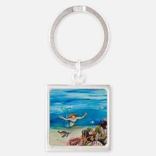 Young Mermaid with young turtles.  Square Keychain