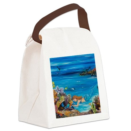 Young Mermaid tending to her fish Canvas Lunch Bag