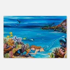 Young Mermaid tending to  Postcards (Package of 8)