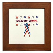 Proud Navy Grandma Framed Tile