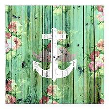 """Vintage Floral Nautical  Square Car Magnet 3"""" x 3"""""""