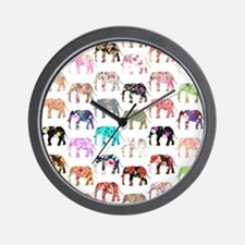 Girly Whimsical Retro Floral Elephants  Wall Clock