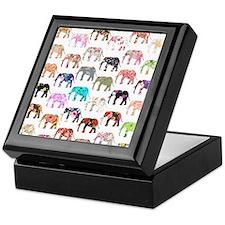 Girly Whimsical Retro Floral Elephant Keepsake Box