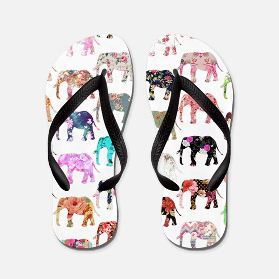 Girly Whimsical Retro Floral Elephants Flip Flops