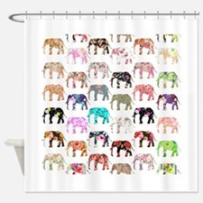 Girly Whimsical Retro Floral Elepha Shower Curtain
