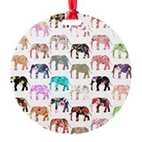 Elephants vintage Round Ornament