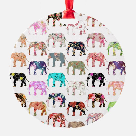 Girly Whimsical Retro Floral Elepha Round Ornament