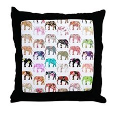 Girly Whimsical Retro Floral Elephant Throw Pillow