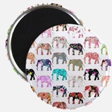 Girly Whimsical Retro Floral Elephants Patt Magnet