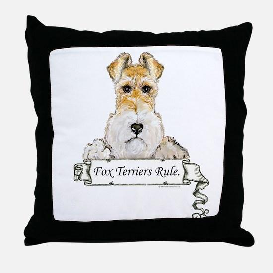 Fox Terriers Rule Throw Pillow