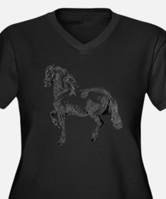 Horse Illust Women's Plus Size Dark V-Neck T-Shirt