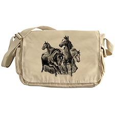4 Horse Illustration Messenger Bag